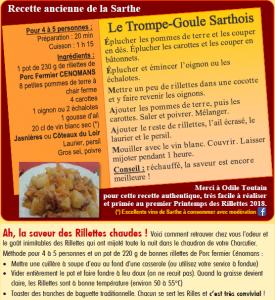 Trompe-Goule sarthois et recette des Rillettes chaudes